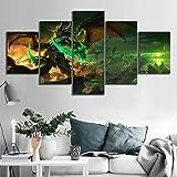 Angle&H 5 Stück HD Segeltuch Gemälde Wandkunst Illidan Stormrage World of Warcraft Spiel Poster Zeichnung Kunst zum Zuhause Dekor,B,40x60x2+40x100x1+40x80x2