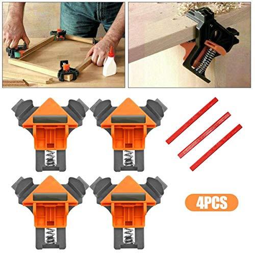 Preisvergleich Produktbild 4 Stück Set Klemmen für die Holzbearbeitung,  90 ° rechtwinkliger Eckclip Fixierer Linealklemme Holzrahmen Holzbearbeitung Hand DIY Werkzeug für Bilderrahmen Boxen Schränke oder Schubladen Schreiner