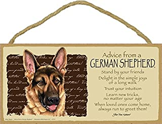 """SJT ENTERPRISES, INC. Advice from a German Shepherd 5"""" x 10"""" MDF Wood Plaque Sign Licensed from Your True Nature (SJT67537)"""