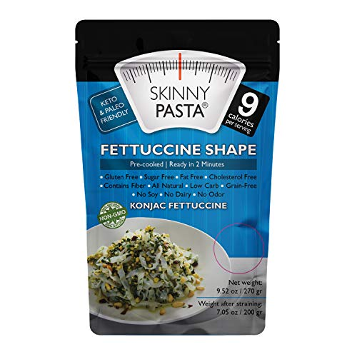 Skinny Pasta 9.52 oz - The Only Odor Free 100% Konjac Noodle (Shirataki Noodles) - Pasta Weight loss - Low Calorie Food - Healthy Diet Pasta - Fettuccine - 6-Pack
