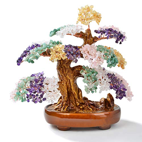 KALIFANO Natural Tree of Life Gemstones (1,251 Gemstone Count) Chakra Crystal Tree with Healing Properties - Bonsai Feng Shui Money Tree for Healing and Luck - 14'