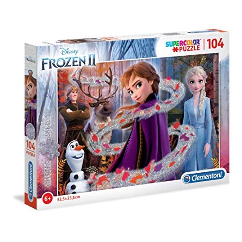 Clementoni-Clementoni-20162-Glitter Disney Frozen 2-104 Pezzi, Puzzle Bambini, Multicolore, 20162
