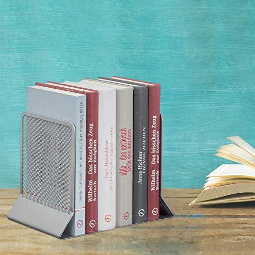 Relaxdays, Silber Buchstütze, 2er-Set, Bücher, DVDs, Zeitschriften, Stabiler Buchwinkel HxBxT: ca. 16,5 x 13 x 10,5 cm, Standard