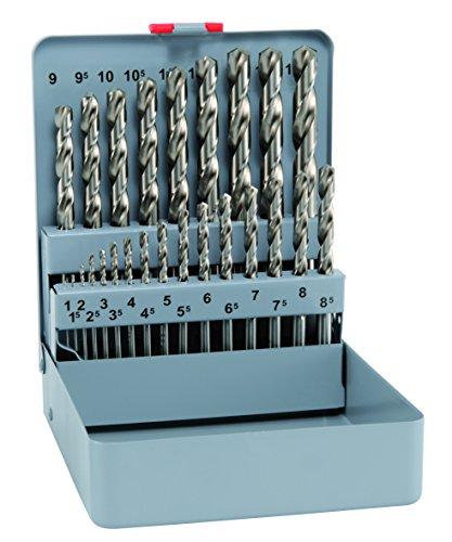 Bohrer / HSS Spiralbohrer Super KM 25, 25-teilig | optimale Bohrleistung durch Spezialanschliff, enge Toleranzen und hohe Rundlaufgenauigkeit, zum Bearbeiten von (un)-legiertem Stahl | Ø 1- 13 mm