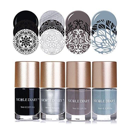 NICOLE DIARY 4Pcs Nail Stamping Polish Luminoso e Festoso Creativo Nail Plate Lacca Stampa Vernice per nail art Printing Decoration (Set 5)