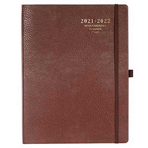 """2021-2022 Planner - Weekly/Monthly Planner, 8.5"""" x 11"""", Soft Leather cover with Thick Paper, Back Pocket with 24 Notes Pages - Brown"""