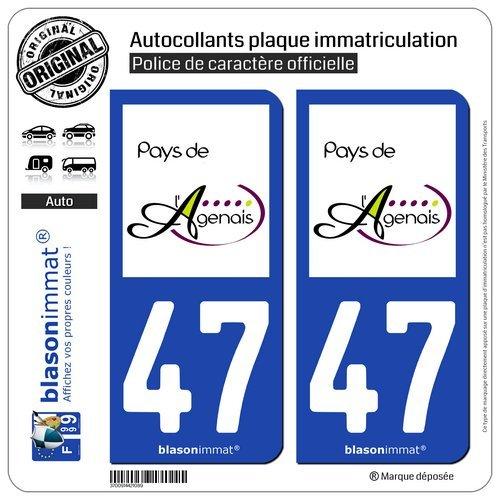 blasonimmat 2 Autocollants Plaque immatriculation Auto 47 Agen - Pays