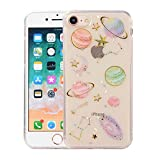 CMEKA Slim Fit iPhone 8 Case Bling Glitter Sparkle Space Planet Stars Moon Embedded Slippy Ultra Thin Flexible Soft TPU Protecive Phone Case Cover Compatible with Apple iPhone 7/8 (Clear)