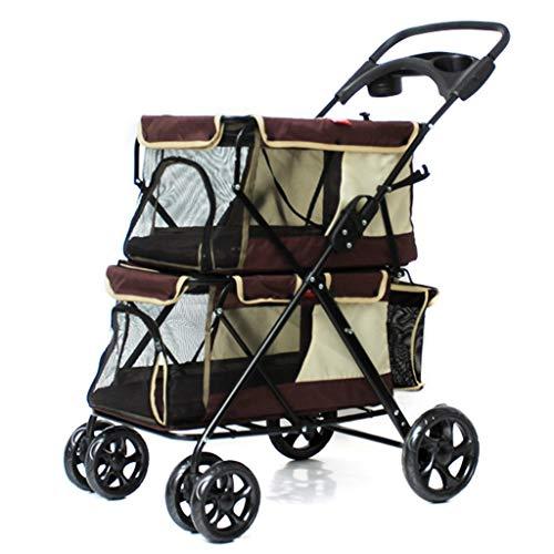 MZP dubbele kinderwagen voor huisdieren Pet Roadster ophanging bekerhouder opbergmand stoel, 6 wielen van EVA-staal, maximaal gewicht 15 kg, 600D, belasting van het pvc-weefsel binnen 20 kg,  Oro rosa + oro rosa