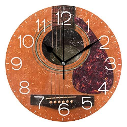 Orologio da parete a forma di chitarra, in legno, con stampa tonda silenziosa, funzionamento a batteria, accurato, bello, decorativo per cucina, soggiorno, camera da letto, ufficio (10 pollici)