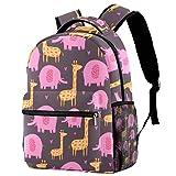 Mochila escolar de 16 pulgadas para estudiantes, bolsa de viaje, básica, para portátil, diseño de jirafa, elefante