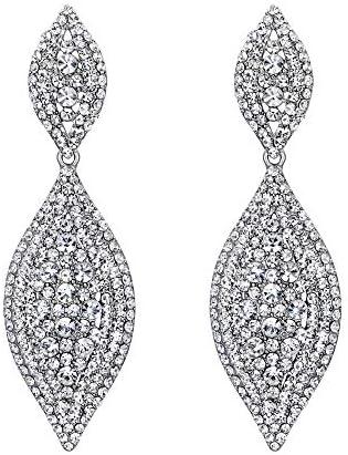 Flyonce Women s Rhinestone Crystal Wedding Bridal 2 Leaf Drop Dangle Chandelier Earrings Clear product image