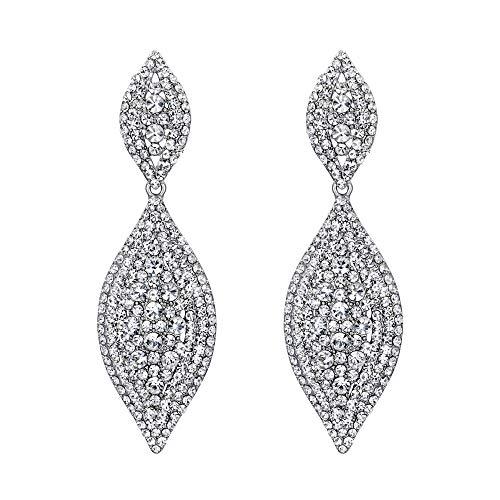 EVER FAITH Orecchini Cristallo austriaco Matrimonio Sposa Fascino 2 Foglia goccia Orecchini pendente Trasparente Argento-fondo