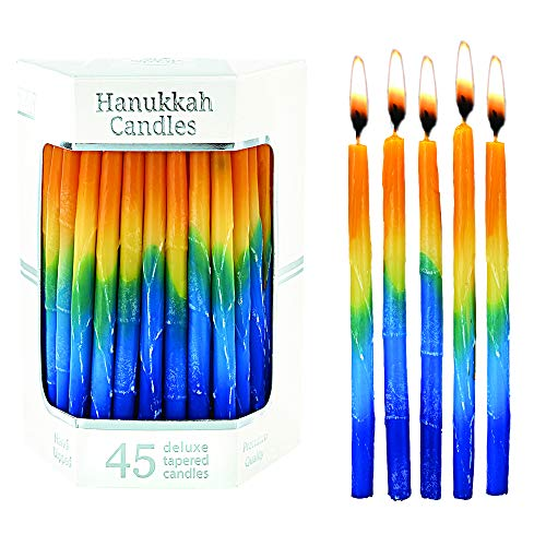 Aviv Judaica Hanukkah Candles Sunburst TRI Color