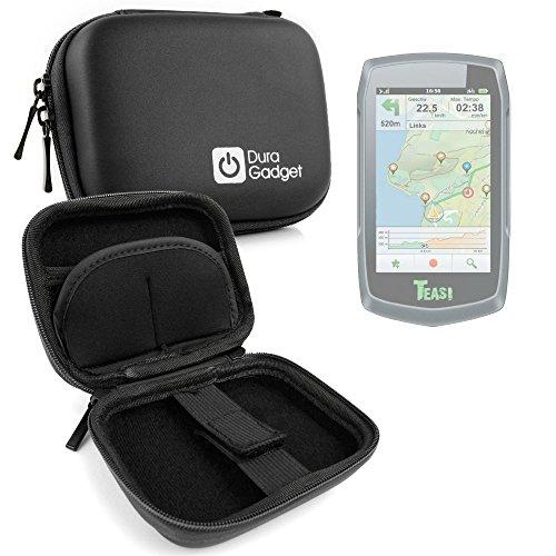 DURAGADGET Coque étui Rigide Noir pour Teasi One | One2 | One3 | Pro | Pro Pulse | Volt GPS de randonnée pédestre ou Cycliste + Clip d'attache détachable
