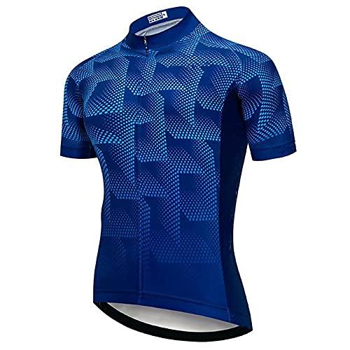LSZ Jerseys De Ciclismo para Hombre, Camisetas De Ciclismo Transpirables De Manga Corta con Cremallera Completa, Camiseta para Bicicleta De Montaña/MTB, Ropa para Bicicleta