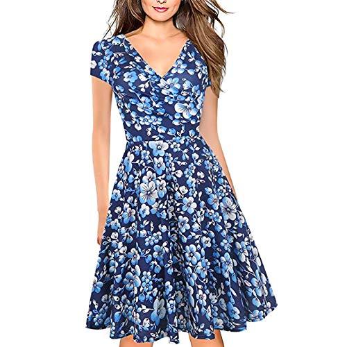 LOVEXIU Vintage Vress, letnie sukienki dla kobiet, seksowna sukienka z dekoltem w serek sukienka midi czerwona i niebieska, elegancka sukienka kwiatowa na imprezę, na co dzień