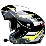 フルフェイスBluetoothオートバイフリップアップヘルメットDOT/ECE認証マイクロフォンスクーターモペットヘルメットを内蔵したダブルレンズヘルメット(59〜64cm)