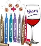 Wine Glass Markers, Pack of 7 By Vaci + 4 Wine Glass Charms, Metallic Color Pens Drink Markers, Personalize your Drink, Washable Wine Accessories Gift