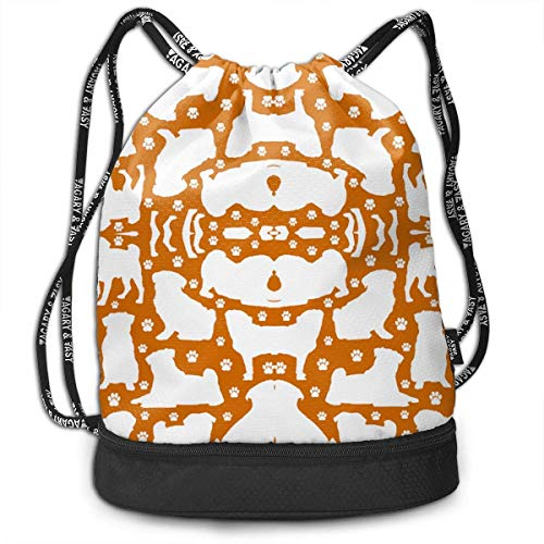 Pugs N Paws - Mochila multifuncional unisex con cordón de doble hombro, mochila para escuela, deporte, gimnasio, cierre de cuerda ajustable