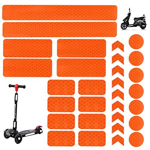 30 Stück Reflektoren Aufkleber Sticker HiPerformance Reflexfolie Set zur Sicherungs-Markierung von Kinderwagen, Fahrrädern, Helmen mit Stickern - selbstklebend und hochreflektierend Sticker (Orange)