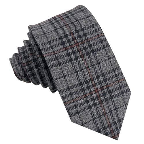 GASSANI Woll-Krawatte Kariert, Schmale Dünne Flanell Herren-Krawatte Wolle Baumwolle, Anthrazit-Graue Dunkel-Graue Schwarze Rote Karos Streifen