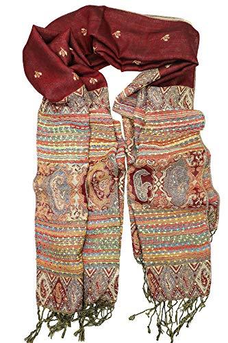 Achillea Soft Silky Reversible Paisley Pashmina Shawl Wrap Scarf w/Fringes 80' x 28' (Ethnic Burgundy)