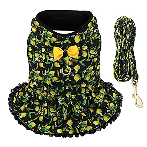 LUBINGT Pet Accessories Cute Printed Chihuahua Dog Cat Harness Leash Set Summer Pets Puppy Clothes Dress Small Dog Vest for Pug Yorkie French Bulldog (Color : Black, Size : XS)