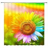 N\A Bunter Sonnenblumen-Duschvorhang Gelbgrün Blau Rosa Blumenpflanzen Blumenlandschaft Regenbogen Ombre Dekor Stoff Badvorhänge, wasserdichtes Polyester mit Haken