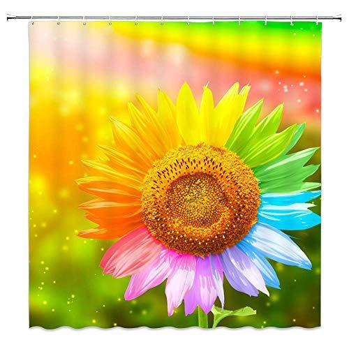 Bunter Sonnenblumen-Duschvorhang Gelbgrün Blau Rosa Blumenpflanzen Blumenlandschaft Regenbogen Ombre Dekor Stoff Badvorhänge, wasserdichtes Polyester mit Haken