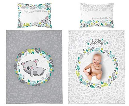 Baby Bettwäsche Set 2tlg. 100% Baumwolle Größe: 100x135 cm, 40x60 cm, ÖkoTex Standard 100 (Koala Grau)