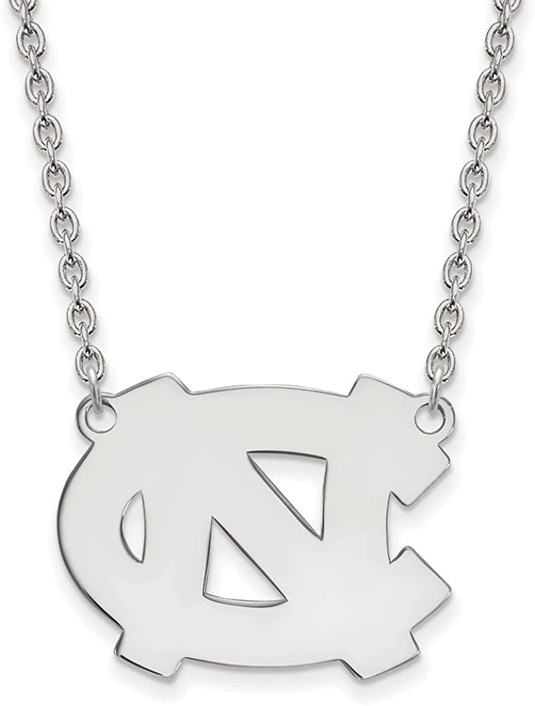 Width = 24mm Solid 925 Sterling Silver Official University of North Carolina Large Pendant Charm Necklace