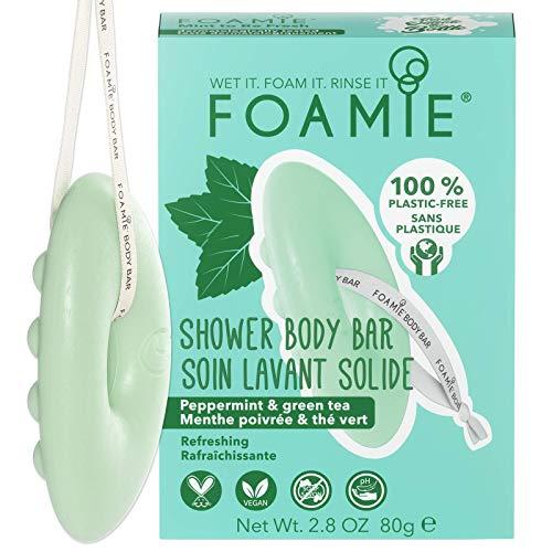 Gel doccia solido Foamie per tutti i tipi di pelle con olio di menta piperita e tè verde per una doccia rinfrescante 100% vegan e senza plastica 80 g