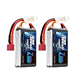 Zeee 7.4V 60C 1500mAh 2S RC Lipo Battery with Deans Plug for FPV Drone Quadcopter Helicopter Airplane RC Boat RC Car RC Models(2 Pack)