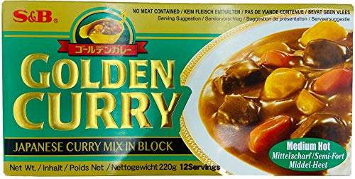 S & B Golden Curry medio caliente (sin carne se incluye) 220g