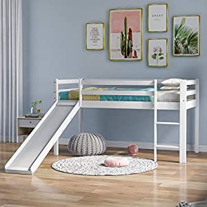 SANGDA Wooden Bunk Bed with Adjustable Ladder and Slide, Children Cabin Bed Frame with Slide Wooden Mid Sleeper Cabin Bunk Bed for office dorm school dorm home