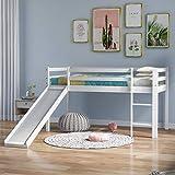 Sangda, letto a castello in legno con scala regolabile e scorrevole, struttura per letto a soppalco in legno, per ufficio, dormitorio, scuola, dormitorio, casa