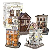 CubicFun Puzzle 3D Harry Potter Callejón Diagón Colección 4 en 1 Set - Quality Quidditch Supplies, Ollivanders Wand Shop, Weasleys' Wizard Wheezes y Gringotts Bank, 274 Piezas