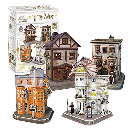 CubicFun Puzzle 3D Harry Potter Callejón Diagón Colección 4 en 1 Set - Quality Quidditch Supplies, Ollivanders Wand Shop, Weasleys' Wizard Wheezes y Gringotts Bank, 274 Piezas