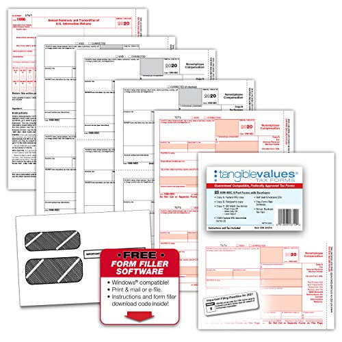 1099 NEC Tax Forms 2020 - Tangible Values 4-Part, 25 Pack Kit with Envelopes - Software Download Included