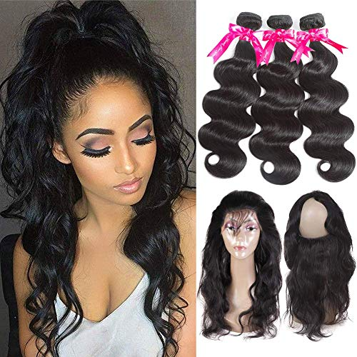 Pizazz 360 Frontal With Bundles Peruvian Virgin Human Hair Body Wave 3 Bundles with Pre Plucked 360 Lace Frontal with Baby Hair (16 18 20+14inch 360)