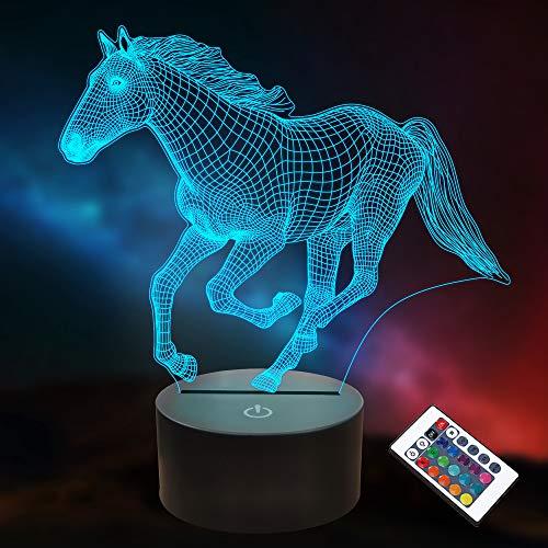 Regalos de caballo para niños y niñas, lámpara 3D con ilusión LED luz nocturna con mando a distancia, 16 colores cambiantes (caballo)