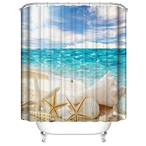 Duschvorhang Anti-Schimmel Wasserdicht Polyestergewebe Antibakteriell Vorhang für Dusche & Badewanne, 3D Strandmuschel Muster,mit 12 Haken, Duschvorhang Waschbar 150x180 cm