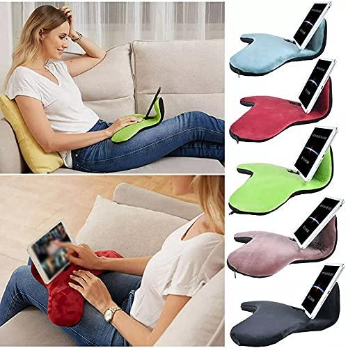 Soporte de cojín de sofá para iPad Air y iPad, tres ángulos universales para teléfono y tableta, se pueden utilizar en cama, escritorio, regazo, sofá, sofá (color verde hierba)