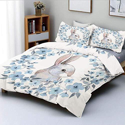 Juego de funda nórdica, retrato de conejo de conejo en guirnalda floral Ilustración Decoración de estilo rústico Juego de cama decorativo de 3 piezas con 2 fundas de almohada, azul gris blanco, el mej