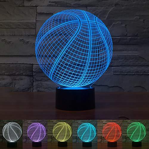 FENSIN LED light Basketball 3D Nachtlicht 3D Lampe mit Fernbedienung 16 Farben,21.5 × 17 × 9 cm, USB Aufladen oder Batteriebetrieb (Basketball)