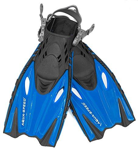 Aqua Speed Schnorchelflossen verstellbar für Kinder I Taucherflossen kurz I Kurzflossen I Flossen Schwimmtraining I Tauchen I Schwimmen I + UP Schlüsselband I Blau, Gr. 32/37 I Bounty
