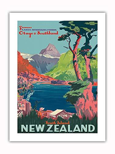 Île du Sud, Nouvelle-Zélande - Otago et Southland - Chemins de fer néo-zélandais - Affiche ferroviaire c.1930s - Prime Papier de Bambou Impression d'Art 46x61cm