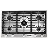 Dacor RNCT365GSNG 36' Renaissance Natural Gas Cooktop with 5 Sealed Burners Die Cast Knobs Perma-Flame Technology Continuous Grates and Smart Flame Technology: Stainless