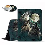 iPad 9.7 2018/2017 Case, iPad Air/Air 2 Case, Adjustable Folio Smart Cover Stand Shockproof TPU Case with Auto Sleep/Wake for Apple iPad 6th/5th Gen - Howling Wolf Under The Moon (with Coasters)